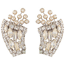 Buy Susan Caplan Vintage 1950s Crystal and Faux Pearl Clip-On Floral Earrings, Silver Online at johnlewis.com