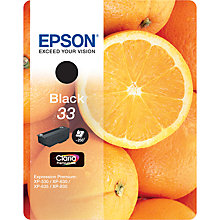 Buy Epson Oranges T3331 Black Ink Cartridge Online at johnlewis.com