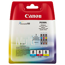 Buy Canon PIXMA CLI-8 Tri-Colour Ink Cartridge Multipack, Pack of Three Online at johnlewis.com