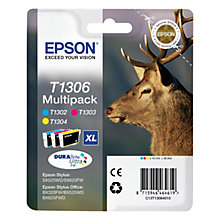 Buy Epson Stag T1306 XL Ink Cartridges, Multipack Online at johnlewis.com