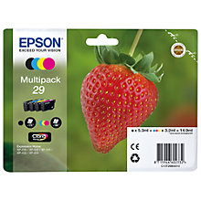 Buy Epson Strawberry T2986 Black & Tri-Colour Ink Cartridge Multipack, Pack of 4 Online at johnlewis.com