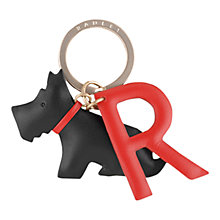 Buy Radley R Is For Radley Leather Keyring, Black/Red Online at johnlewis.com