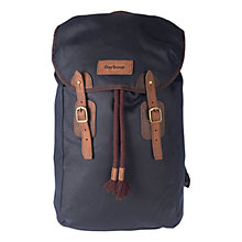 Buy Barbour Wax Leather Backpack, Navy Online at johnlewis.com