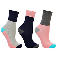 Buy John Lewis Colour Block Ankle Socks, Pack of 3, Multi Online at johnlewis.com