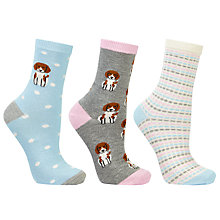 Buy John Lewis Beagle Ankle Socks, Pack of 3, Multi Online at johnlewis.com