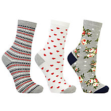 Buy John Lewis Floral Rose Motif Ankle Socks, Pack of 3, Multi Online at johnlewis.com
