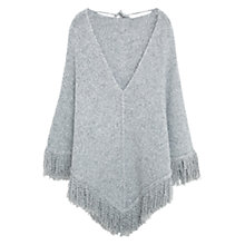Buy Mango Fringe Knit Poncho Cape, Light Pastel Grey Online at johnlewis.com