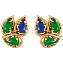 Buy Susan Caplan Vintage 1960s Christian Dior Teardrop Design Earrings, Gold/Green Online at johnlewis.com