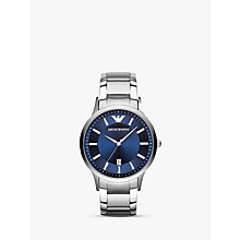 Buy Emporio Armani AR2477 Men's Stainless Steel Bracelet Strap Watch, Silver/Blue Online at johnlewis.com