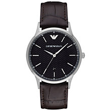 Buy Emporio Armani AR2480 Men's Renato Leather Strap Watch, Dark Brown/Black Online at johnlewis.com