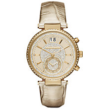 Buy Michael Kors Mk2444 Women's Crystal Set Stainless Steel Sawyer Leather Strap Watch Online at johnlewis.com