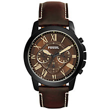 Buy Fossil FS5088 Men's Grant Chronograph Leather Strap Watch, Dark Brown Online at johnlewis.com