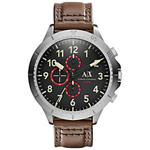 Buy Armani Exchange AX1755 Men's Aeroracer Leather Strap Watch, Dark Brown/Black Online at johnlewis.com