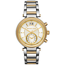 Buy Michael Kors MK6225 Women's Sawyer Chronograph Two Tone Bracelet Strap Watch, Silver/Gold Online at johnlewis.com