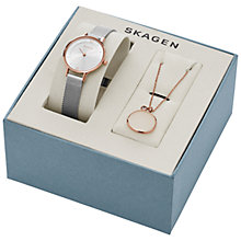 Buy Skagen SKW1069 Women's Anita Mesh Bracelet Strap Watch and Necklace Gift Box, Silver Online at johnlewis.com