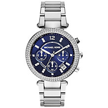 Buy Michael Kors MK6117 Women's Parker Chronograph Bracelet Strap Watch, Silver/Blue Online at johnlewis.com
