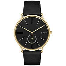 Buy Skagen SKW6217 Men's Hagen Chronograph Leather Strap Watch, Black Online at johnlewis.com