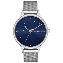 Buy Skagen SKW2391 Women's Anita Crystal Stainless Steel Mesh Bracelet Strap Watch, Silver/Blue Online at johnlewis.com
