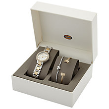 Buy Fossil ES3871SET Women's Virginia Two Tone Bracelet Strap Watch and Bracelets Gift Set, Silver/Gold Online at johnlewis.com