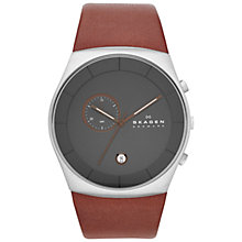 Buy Skagen SKW6085 Men's Havene Chronograph Leather Strap Watch, Brown/Grey Online at johnlewis.com