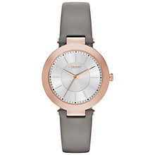 Buy DKNY NY2296 Women's Stanhope 2.0 Leather Strap Watch, Grey/Silver Online at johnlewis.com