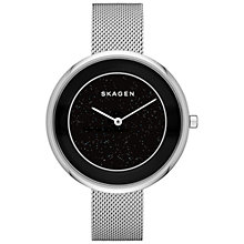 Buy Skagen SKW2384 Women's Gitte Crystal Centre Mesh Bracelet Strap Watch, Silver/Black Online at johnlewis.com