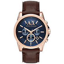 Buy Armani Exchange Men's Chronograph Date Leather Strap Watch, Dark Brown/Blue Online at johnlewis.com