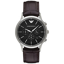 Buy Emporio Armani AR2482 Men's Renato Chronograph Leather Strap Watch, Dark Brown/Black Online at johnlewis.com