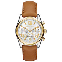 Buy Michael Kors MK2420 Women's Lexington Chronograph Leather Strap Watch, Brown/Silver Online at johnlewis.com