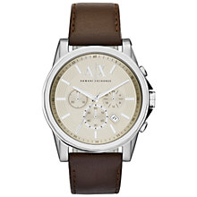 Buy Armani Exchange Men's Outerbanks Leather Strap Watch Online at johnlewis.com