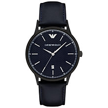 Buy Emporio Armani AR2479 Men's Renato Leather Strap Watch, Dark Navy Online at johnlewis.com
