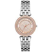 Buy Michael Kors MK3446 Women's Mini Darci Crystal Two Tone Bracelet Strap Watch, Silver/Rose Gold Online at johnlewis.com