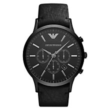 Buy Emporio Armani AR2461 Men's Renato Chronograph Leather Strap Watch, Black Online at johnlewis.com
