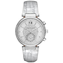 Buy Michael Kors MK2443 Women's Sawyer Diamante Chronograph Leather Strap Watch, Silver Online at johnlewis.com