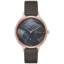 Buy Skagen SKW2390 Women's Anita Crystal Mother of Pearl Leather Strap Watch, Grey Online at johnlewis.com