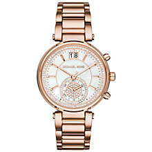 Buy Michael Kors MK6282 Women's Sawyer Chronograph Crystal Set Bracelet Strap Watch, Rose Gold/Mother of Pearl Online at johnlewis.com