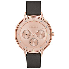 Buy Skagen SKW2392 Women's Anita Chronograph Leather Strap Watch, Grey/Rose Gold Online at johnlewis.com