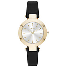 Buy DKNY NY2413 Women's Stainless Steel Stanhope Leather Strap Watch, Black/Silver Online at johnlewis.com