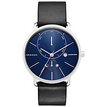 Buy Skagen SKW6241 Men's Hagen Stainless Steel Leather Strap Watch, Black/Blue Online at johnlewis.com