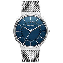 Buy Skagen SKW6234 Men's Ancher Rotating Date Stainless Steel Mesh Bracelet Strap Watch, Silver/Blue Online at johnlewis.com