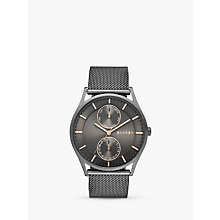 Buy Skagen SKW6180 Men's Holst Chronograph Stainless Steel Mesh Bracelet Strap Watch, Gunmetal/Black Online at johnlewis.com
