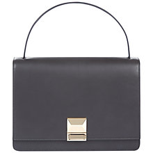 Buy Jaeger Push Lock Leather Grab Bag, Charcoal Online at johnlewis.com