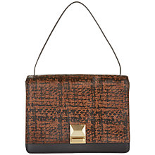 Buy Jaeger Leather Printed Lock Bag, Chocolate Online at johnlewis.com
