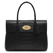 Buy Mulberry Bayswater Leather Croc Print Bag, Black Online at johnlewis.com