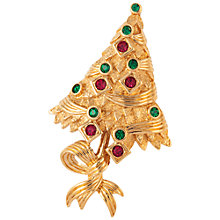 Buy Susan Caplan Vintage 1960s Attwood & Sawyer Swarovski Crystals Christmas Tree Brooch, Gold/Red Online at johnlewis.com