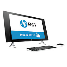 "Buy HP ENVY All-in-One 27-p000na Desktop PC, Intel Core i7, 8GB RAM, 1TB + 128GB, 27"" Touch Screen, 4K Ultra HD, Pearl White Online at johnlewis.com"
