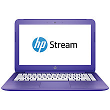 "Buy HP Stream 13-c101na Laptop, Intel Celeron, 2GB RAM, 32GB, 13.3"", Violet Online at johnlewis.com"