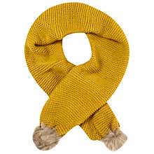 Buy White Stuff Rennie Faux Fur Pom Pom Scarf, Yellow Online at johnlewis.com