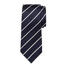 Buy Hackett London Panama Stripe Silk Tie, Navy/White Online at johnlewis.com