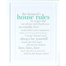 Buy Megan Claire - Personalised Definiton House Rules Framed Print Online at johnlewis.com